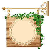 Wooden sign with ivy — Stock Vector