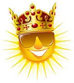 Sun in a golden crown — Stock Vector