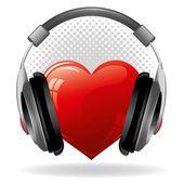 Heart with headphones — Stock Vector