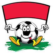 Cartoon soccer ball with flag. vector editable illustration — Stockvector