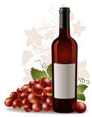 бутылка вина и винограда — Cтоковый вектор