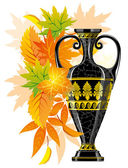Antique amphora with autumn leaves — Stock Vector