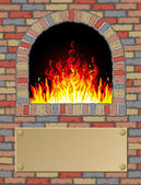 Antique fire place — Stock Vector