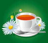 Herbal camomile tea — Stock Vector