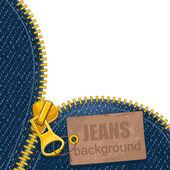 Metal zipper on denim background — Stock Vector