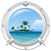 Porthole with sea view — Stock Vector