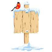 Wooden pointer in the snow, it sits bullfinch. — Stock Vector
