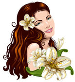 Girl with flowers — Stock Vector
