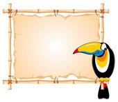 Bamboo frame and toucan — Stock Vector