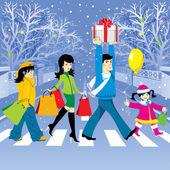 Christmas shopping — Stock Vector