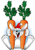 New year 2011 : Happy Rabbit with a two large carrot — Vector de stock
