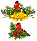 Bullfinch with Christmas bells — Stock Vector