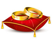 Wedding rings on red satin pillow with gold tassels — Stock Vector