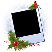 Christmas photo frame with holly berry — Stock Vector