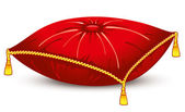 Red satin pillow with gold tassels — Stock Vector
