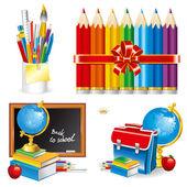 Back to school (set vector illustration) — Stock Vector