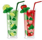 Refreshing mojito cocktails — Stock Vector