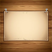 Old paper sheet on the wooden background — Stock Vector
