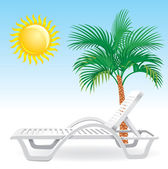 Beach chaise longue with tropical palm tree — Stock Vector