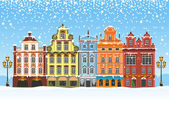 Christmas in a snowy city — Stock Vector