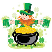 Leprechaun with mug of beer — Stock Vector