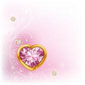 Cœur de diamant dans cadre doré — Vecteur