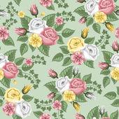Retro flower seamless pattern - roses — Stock Vector