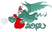 New year 2012 : Cheerful Dragon with a large christmas bag — Stock Vector