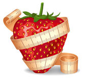 Strawberry in a measuring tape — Stock Vector