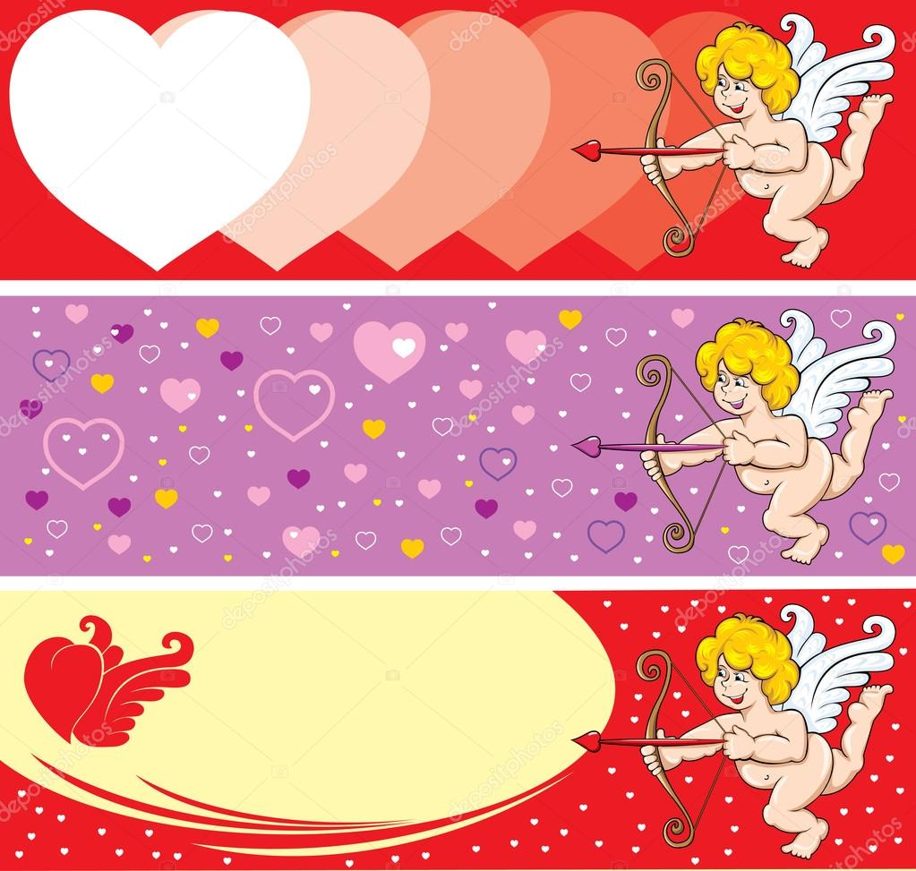 Set of Beautiful background on Valentine's Day, Cupid is ready to release an arrow. Vector. — Stock Vector #16784869