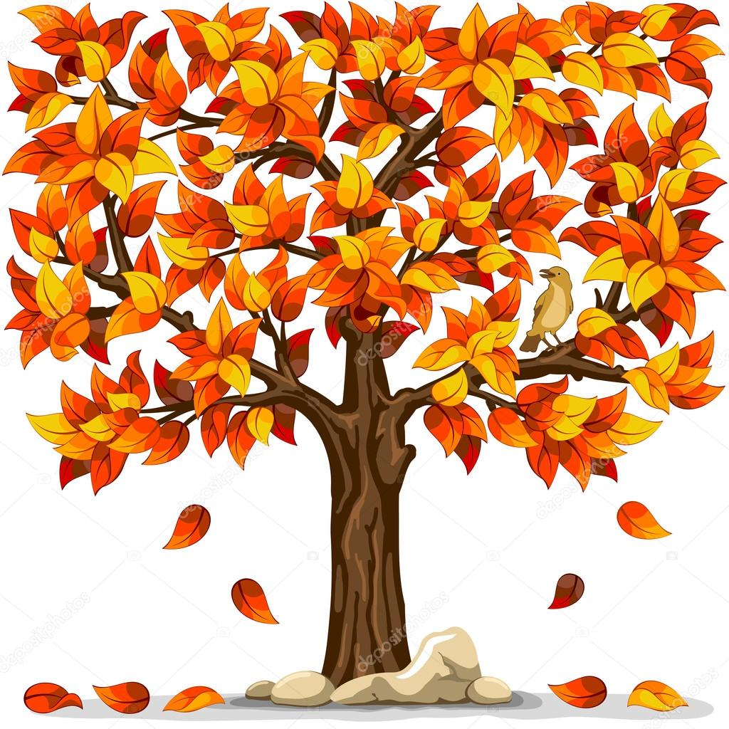 Autumn tree with bird isolated on white background   Stock Vector #16786927