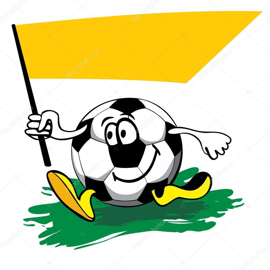 Pallone da calcio cartone animato con bandiera