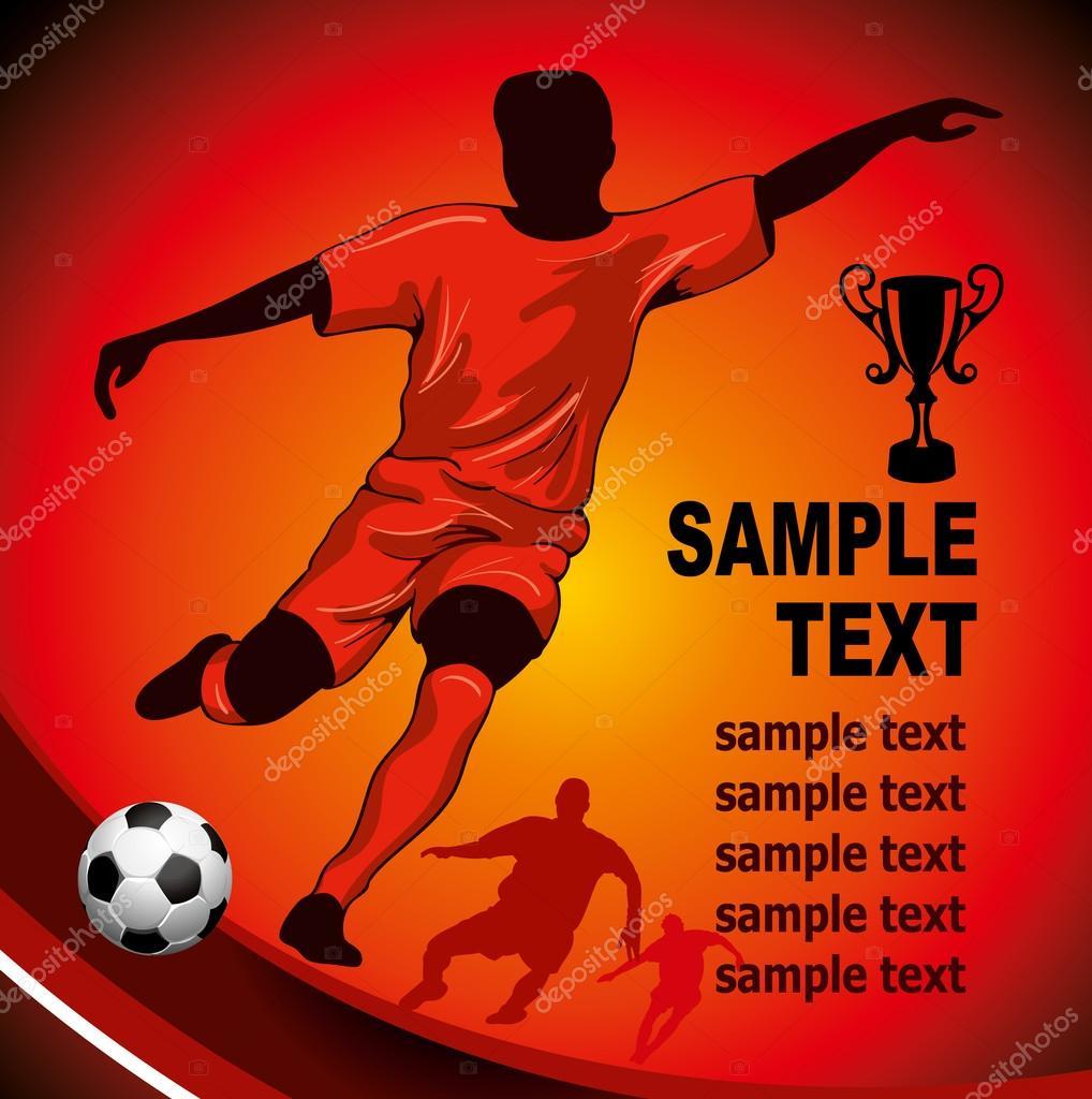 足球海报与足球运动员和为您的文本的地方 — 矢量图片作者 pazhyna