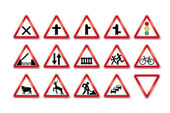 Traffic signs collection — Stock Vector