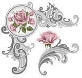 Corner piece ornament of roses — Stock Vector
