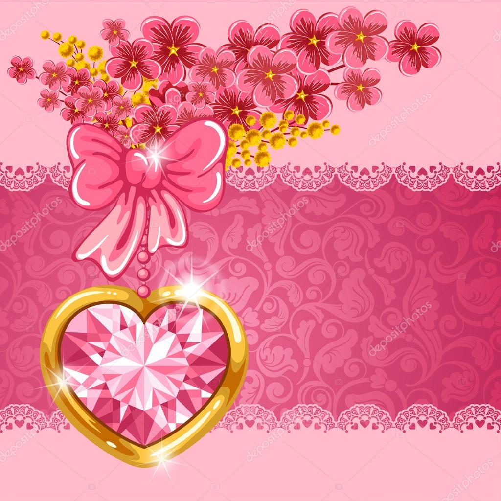 Cute valentine card with diamond heart, bouquet of spring flowers and place for your text — Stock Vector #19656615