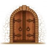 Wooden door — Stock Vector