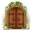 Royalty-Free Stock Vector Image: Wooden door with ivy