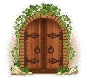 Wooden door with ivy — Stock Vector