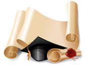 Graduation cap and diploma — Vector de stock