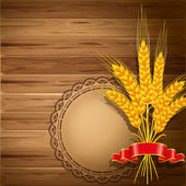 Wheat on wooden background — Stock Vector