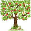 Stock Vector: Apple tree