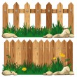 Stock Vector: Wooden fence and grass