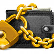 Stock Vector: Wallet with padlock