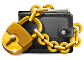 Wallet with padlock — Stock Vector