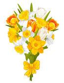 Påskliljor och tulpaner — Stockvektor