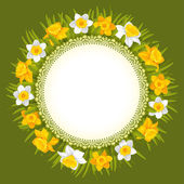 Wreath of spring flowers — Vecteur