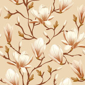 Floral seamless pattern - magnolia — Stock Vector