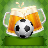 Beer and Soccer Ball  — Stock Vector