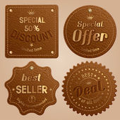Leather label — Stock Vector